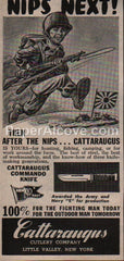Cattaraugus Commando Knife Nips Next racist 1945 vintage original old magazine ad WWII