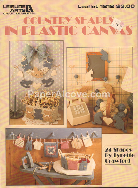 Country Shapes in Plastic Canvas 1989 vintage original decor pattern book Leisure Arts Leaflet 1212