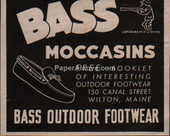 Bass Moccasins shoes 1945 vintage original old magazine ad