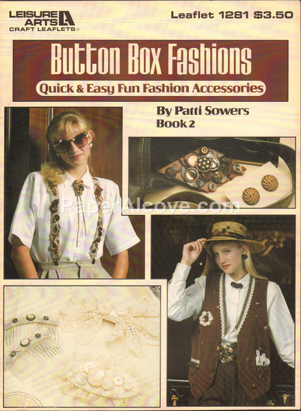Button Box Fashions Book 2 1990 vintage original fashion accessories pattern book Leisure Arts Leaflet 1281