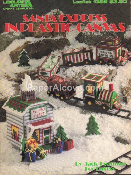 Santa Express in Plastic Canvas 1991 vintage original pattern book Leisure Arts Leaflet 1322 Claus Christmas Train
