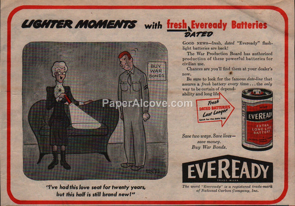 Eveready Batteries WWII GI cartoon 1945 vintage original old magazine ad