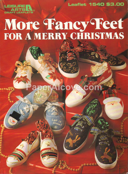 More Fancy Feet for a Merry Christmas 1994 vintage original shoe decorating pattern book Leisure Arts Leaflet 1540