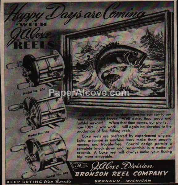 J.A. Coxe fishing Bronson Reel 1945 vintage original old magazine ad