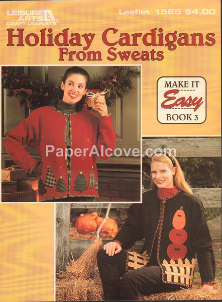 Holiday Cardigans From Sweats 1994 vintage original fashion pattern book Leisure Arts Leaflet 1565