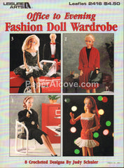 Fashion Doll Wardrobe Office to Evening 1993 vintage original Leisure Arts crochet pattern book leaflet 2416 Barbie