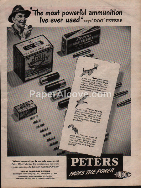 Peters High Velocity cartridges shot shells 1945 vintage original old magazine ad