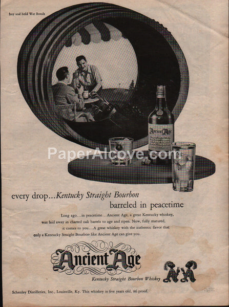 Ancient Age Kentucky Bourbon Whiskey golf 1945 vintage original old magazine ad