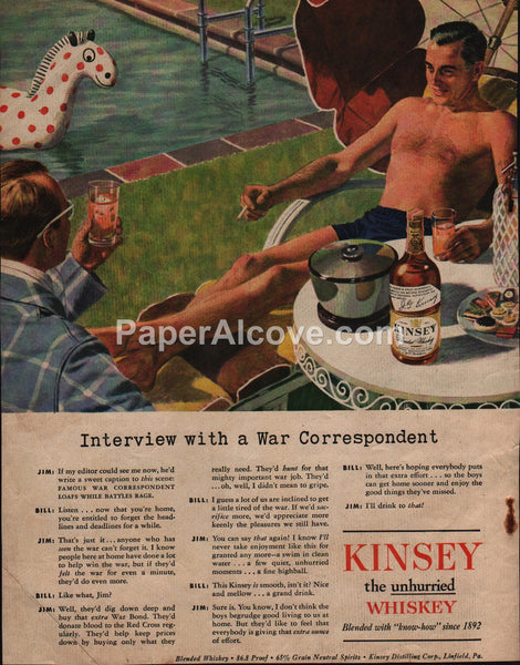 Kinsey Blended Whiskey man bathing suit pool 1945 vintage original old magazine ad gay