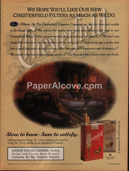 Chesterfield Cigarettes Old Pickup Truck 1992 vintage print ad