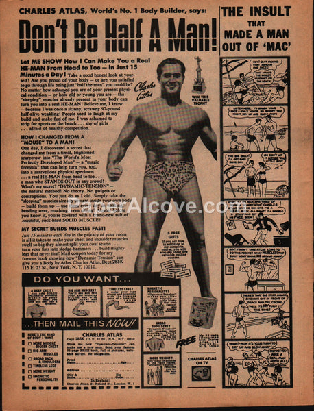 Charles Atlas Don't Be Half a Man 1973 vintage original old magazine ad bodybuilding