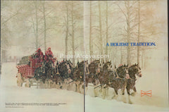Budweiser Beer A Holiday Tradition 1980 vintage original 2-page old magazine ad retro bar clydesdales horses pulling wagon in snow Christmas