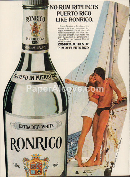 Ronrico White Rum man woman bikini sailboat 1980 vintage original old magazine ad retro bar sailing