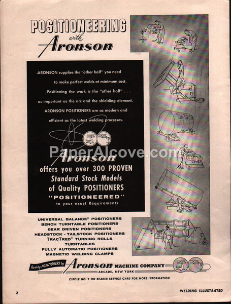 Aronson Welding Positioners 1959 vintage original old magazine ad Arcade NY Machine Co.