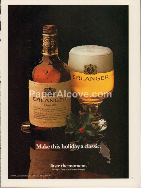 Erlanger Beer 1980 vintage original old magazine ad retro bar Schlitz bottle glass Christmas holly