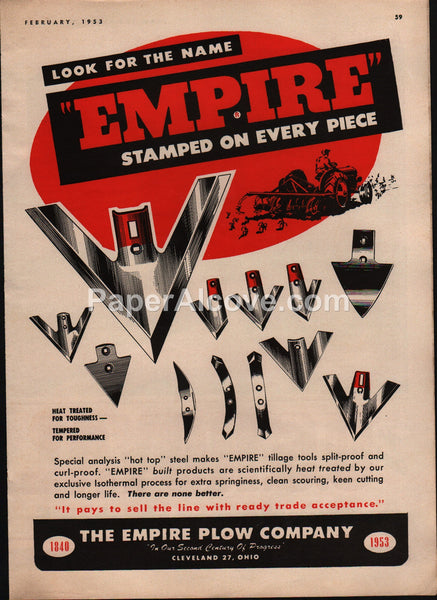 Empire Plow Company 1953 vintage original old magazine ad Cleveland farm