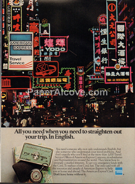 American Express Asia 1980 vintage original old magazine ad credit card