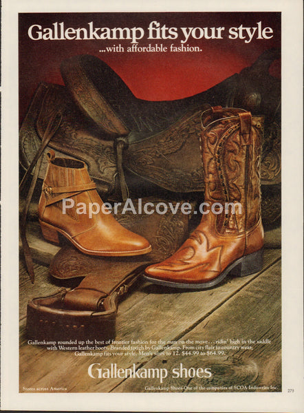 Gallenkamp Shoes 1980 vintage original old magazine ad cowboy boots saddle