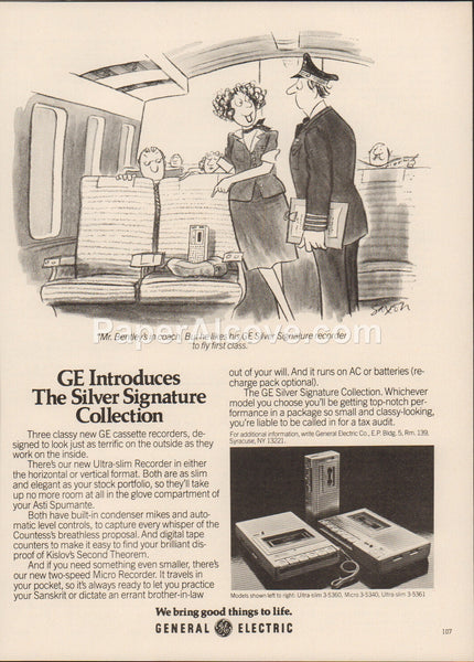 General Electric GE Silver Signature Tape Cassette Recorders 1980 vintage original old magazine ad audio sound equipment 3-5360 3-5340 3-5361 airplane pilot flight attendant