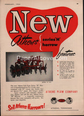 Athens Plow Lift-Type Series H Harrow 1953 vintage original old magazine ad