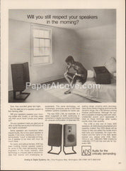 ADS L730 Speakers 1980 vintage original old magazine ad audio sound equipment Analog & Digital Systems  Wilmington Massachusetts risque
