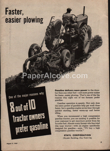 Ethyl Corporation 1947 vintage original old magazine ad tractor owners prefer gasoline