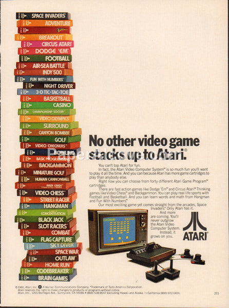 Atari 2600 video games console 1980 vintage original old magazine ad Space Invaders