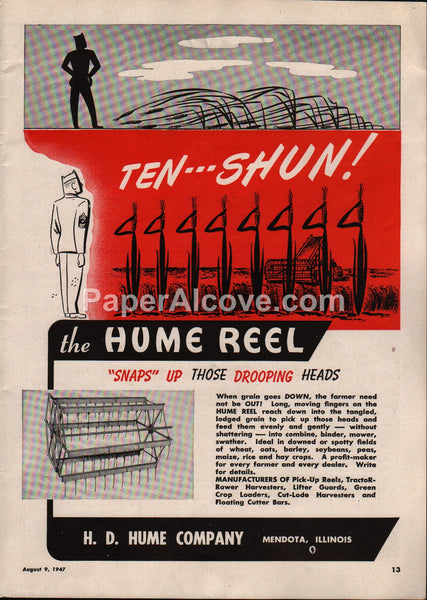 H.D. Hume Reel 1947 vintage original old magazine ad Farm Equipment Mendota