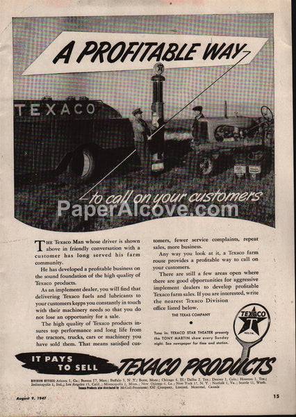 Texaco Products gas pump truck cans 1947 vintage original old magazine ad Farm