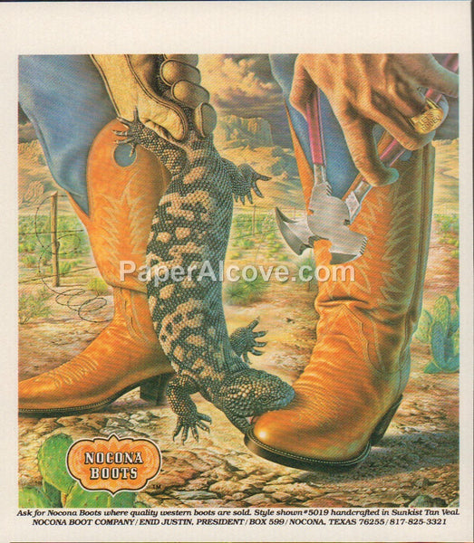 Nocona Boots #5019 Sunkist Tan Veal 1980 vintage original old magazine ad Texas shoes