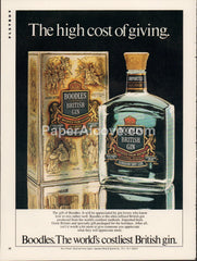Boodles British Gin 1980 vintage original old magazine ad retro bar