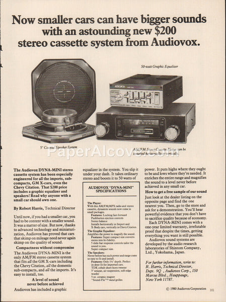 Audiovox DYNA-MINI car stereo cassette system 1980 vintage original old magazine ad audio sound equipment Hauppauge New York
