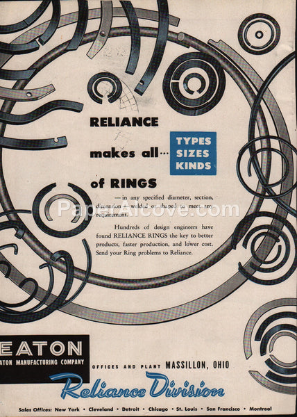 Eaton Reliance rings Massillon Cleveland 1947 vintage original old magazine ad