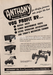 Anthony Farm Equipment 1947 vintage original old magazine ad Streator
