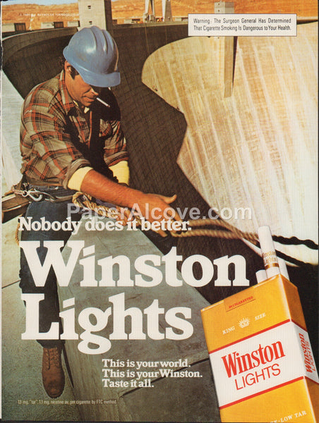 Winston Lights Cigarettes 1980 vintage original old magazine ad tobacco Hoover Dam construction worker