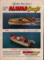 Aluma Craft Boat 1957 vintage original old magazine ad company