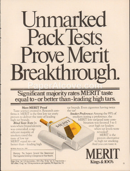 Merit Kings 100s Cigarettes 1980 vintage original old magazine ad tobacco
