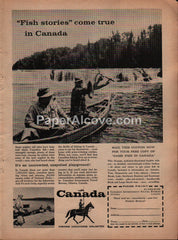 Canada Fish Stories tourism fishing 1957 vintage original old magazine ad