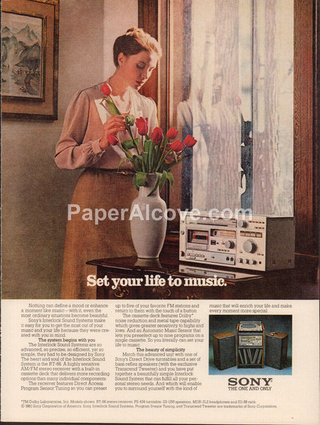 Sony RT-66 AM/FM Stereo Receiver 1980 vintage original old magazine ad audio sound equipment red roses PS-434 turntable SS-U55 speakers MDR-3L2 headphones