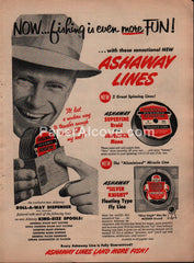 Ashaway Lines fishing 1957 vintage original old magazine ad
