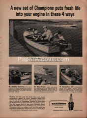 Champion Spark Plugs boats 1957 vintage original old magazine ad
