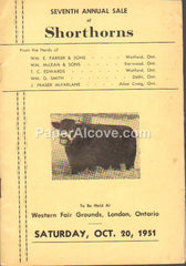 Shorthorns Cattle Sale 1951 vintage original old program Western Fair Grounds London Ontario