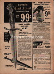 Black Forest Hunting Knife 1957 vintage original old magazine ad Thoresen