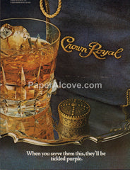 Crown Royal Canadian Whisky on silver serving tray 1980 vintage original old magazine ad retro bar