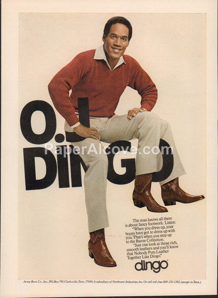 Dingo Boots O.J. Simpson 1980 vintage original old magazine ad shoes Acme Clarksville Tennessee