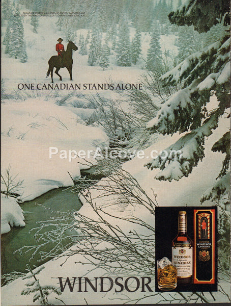 Windsor Canadian Whisky mountie on horseback in snow 1980 vintage original old magazine ad retro bar