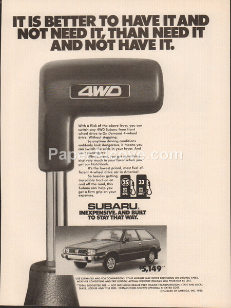 Subaru 4WD Hatchback 1980 vintage original old magazine ad car