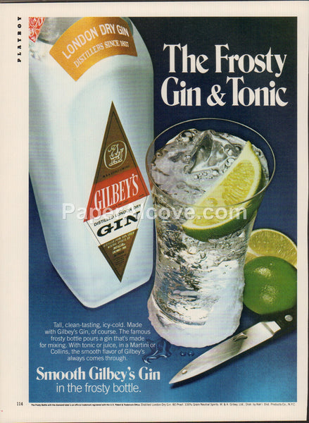 Gilbey's Gin 1980 vintage original old magazine ad retro bar Frosty Gin & Tonic