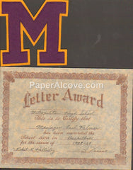 Metropolitan High School Basketball Letter Award 1938 vintage Manager Earl Palmer