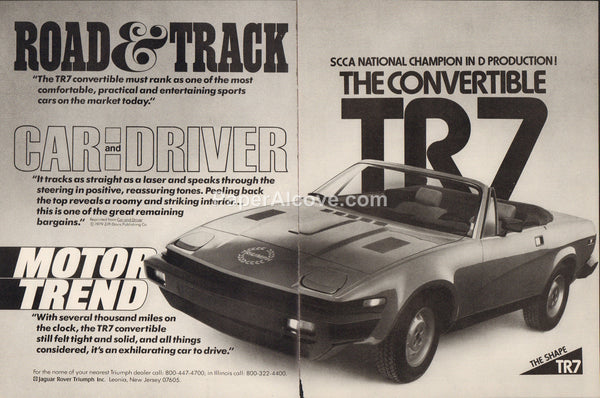 Triumph TR7 Convertible 1980 vintage original 2 page old magazine ad sports car
